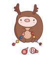 cute hand-drawn cartoon pig in deer costume vector image vector image