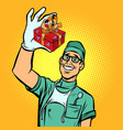 dentist with a gift new tooth implant vector image vector image