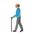 drawing elderly man walking stick cane vector image vector image