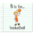 Flashcard letter B is for basketball vector image vector image