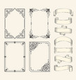frames and ribbons monochrome sketch set vector image vector image