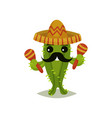 funny mexican cactus with black mustache vector image vector image
