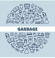 garbage and waste poster with text and icon vector image