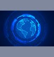 global technology earth concept blue background vector image