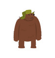 humanized male bear character in green earflap vector image vector image