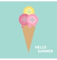 Ice cream with buttons Hello summer Greeting card vector image vector image