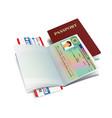 international passport with austria visa vector image vector image