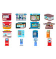 kiosk icons set flat style vector image vector image