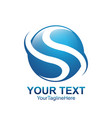 letter s logo design template colored blue circle vector image vector image