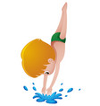 little boy diving down the pool vector image