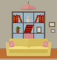 living room interior with sofa and bookshelf vector image
