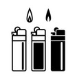 long lighters icon in linear and silhouette style vector image vector image