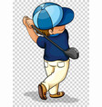 man playing golf on transparent background vector image vector image