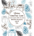 merry christmas card lineart christmas vector image vector image