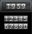 Number set from 1 to 9 digital clock dark vector image