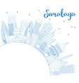 outline surabaya skyline with blue buildings and vector image vector image
