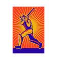 retro cricket poster vector image vector image