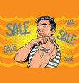 sailor with sale tattoo on hand vector image vector image
