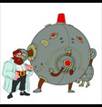 scientist with full beard stands next to the round vector image
