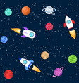 seamless background of space objects planets vector image vector image