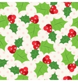 seamless pattern holly berry sprig vector image