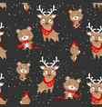 seamless pattern with cute deer and bear in scarf vector image vector image