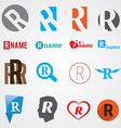 Set of alphabet symbols of letter R vector image vector image