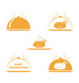set of thanksgiving turkey and happy thanksgiving vector image vector image