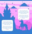 silhouette fairytale magic castle and unicorn vector image vector image