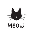 simple black cat head silhouette saying meow vector image vector image