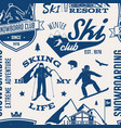 ski and snowboard club seamless pattern vector image