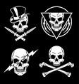 Skull graphics emblem set vector image