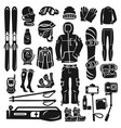 snowboarding equipment icon set simple style vector image