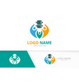 spine and family logo combination unique vector image vector image