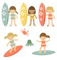 Surfing girls vector image
