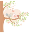 Two kissing birds on the tree vector | Price: 1 Credit (USD $1)