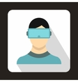 Virtual reality glasses icon flat style vector image
