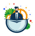 working hours manager with a clock and gears vector image