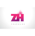 zh z h letter logo with pink purple color vector image vector image