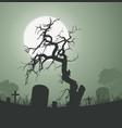 halloween spooky dead tree in graveyard vector image