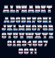 alphabet font template 80s retro style vector image