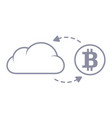bitcoin sync with the cloud line style icon vector image