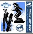 snowboarders - set vector image