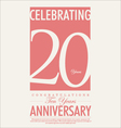 20 years Anniversary retro background vector image vector image