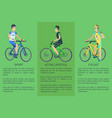 active lifestyle sport cyclist colorful poster vector image vector image