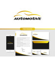 automotive car logo branding with stationery vector image vector image