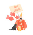 birthday greeting card with funny man and cat vector image vector image