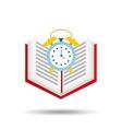 book school open and clock vector image