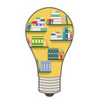 bookshelf in the form of a light bulb vector image
