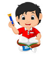 boy writing and drawing vector image vector image